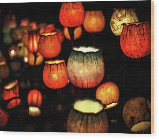 Flower Lamps Wood Print