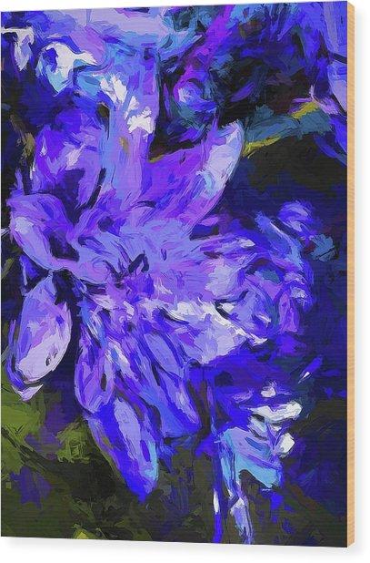 Flower Lavender Lilac Cobalt Blue Wood Print