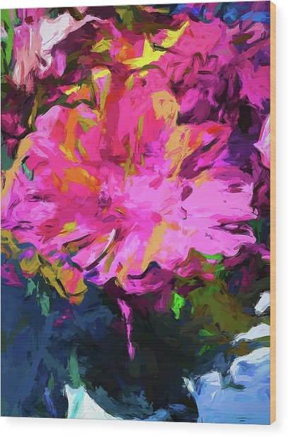 Flower Lolly Pink Yellow Wood Print