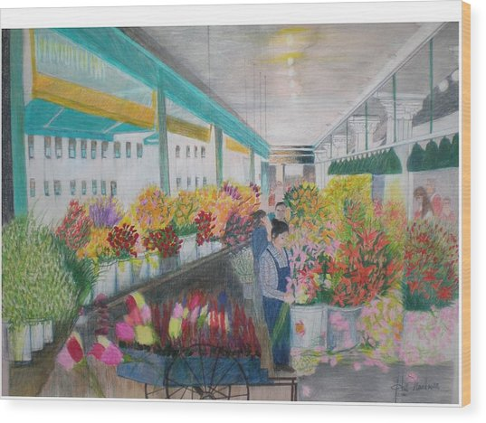 Flower Market Wood Print by Hal Newhouser