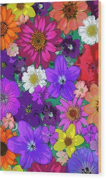 Flower Pond Vertical Wood Print