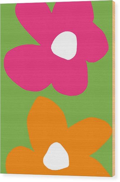 Flower Power 1- Art By Linda Woods Wood Print