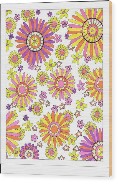 Flower Power 1 Wood Print