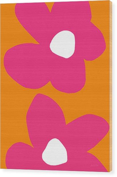 Flower Power 2- Art By Linda Woods Wood Print