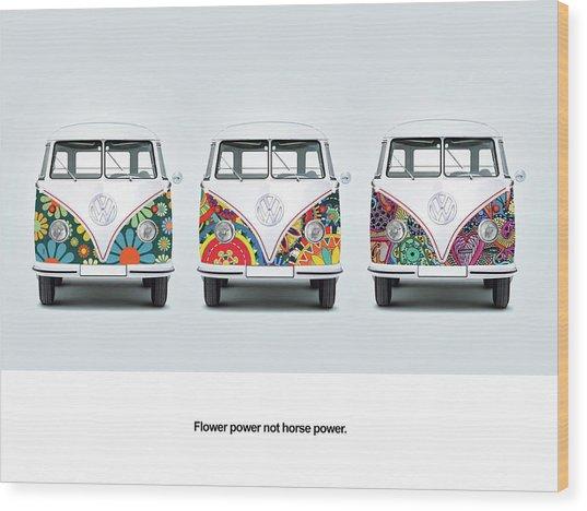 Flower Power Vw Wood Print