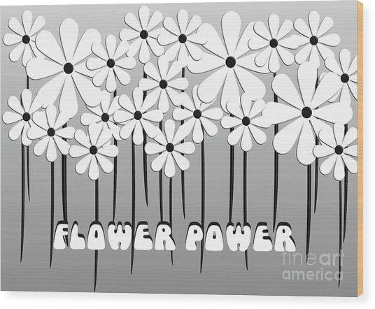 Flower Power - White  Wood Print