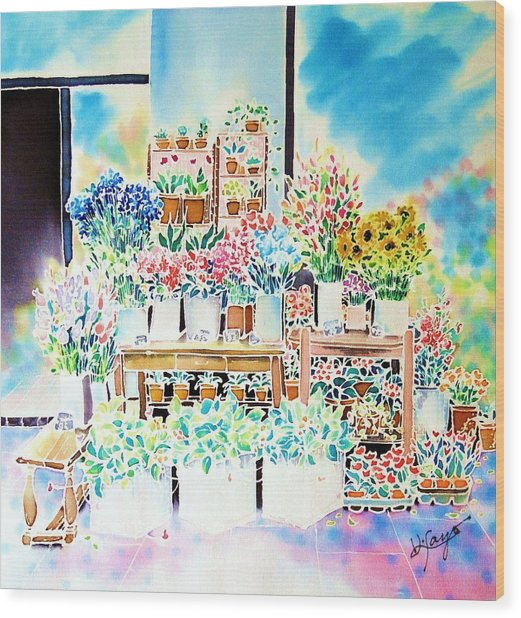 Flower Shop In Paris Wood Print
