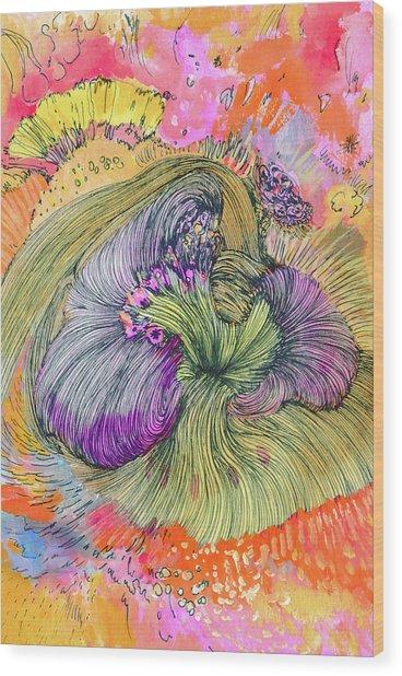 Flower - Ss17dw002 Wood Print by Satomi Sugimoto
