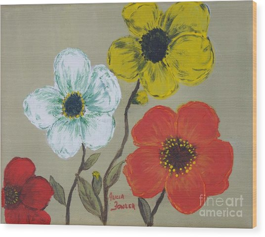 Flower Trio Wood Print