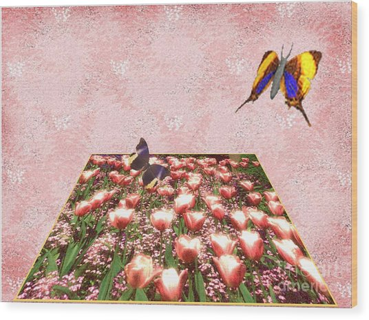 Flowerbed Of Tulips Wood Print