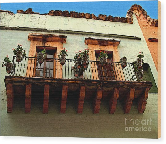 Flowered Balcony Wood Print by Mexicolors Art Photography