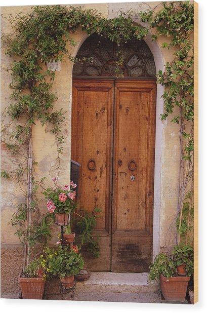 Flowered Tuscan Door Wood Print