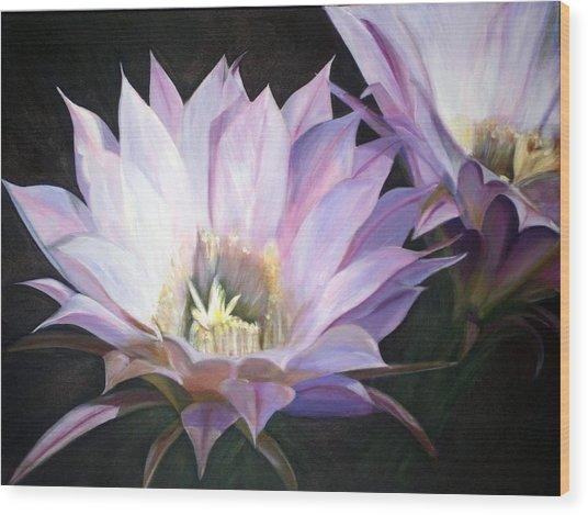 Flowering Cactus Wood Print by Fiona Jack