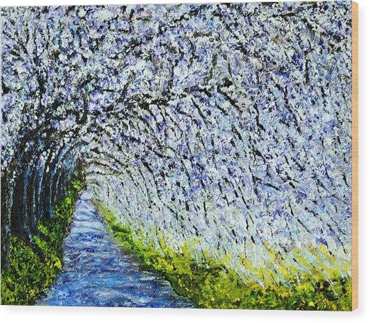 Flowering Tree Lane Wood Print