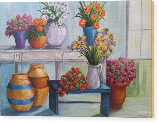 Flowerpots Wood Print