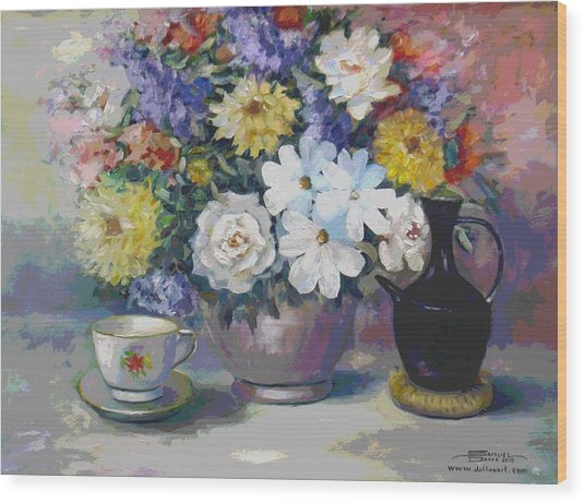 Flowers And Coffee Pot Wood Print