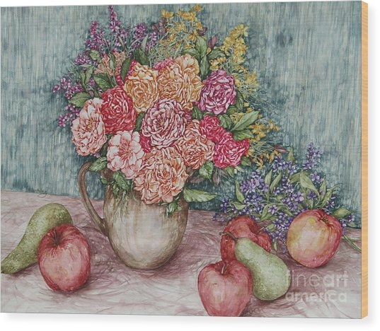 Flowers And Fruit Arrangement Wood Print