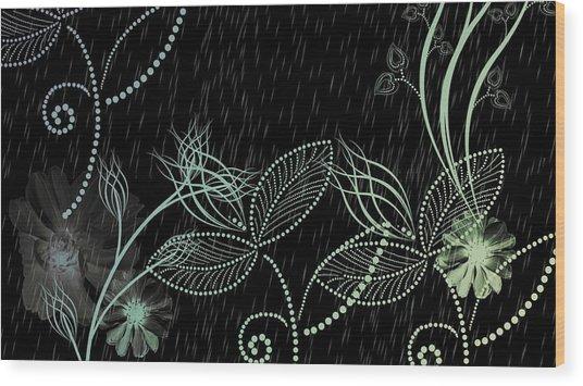 Flowers And Rain Wood Print