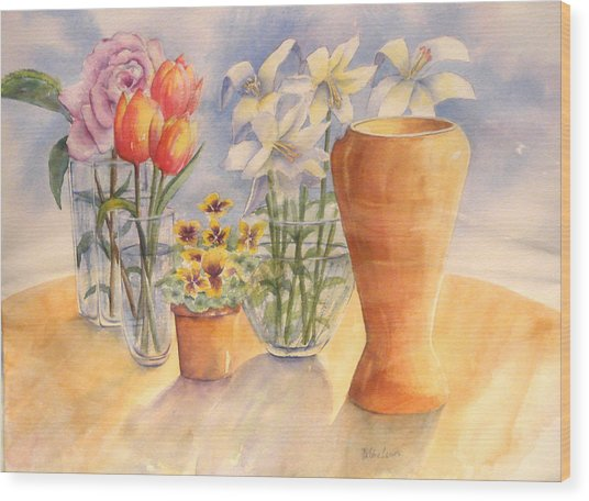Flowers And Terra Cotta Wood Print