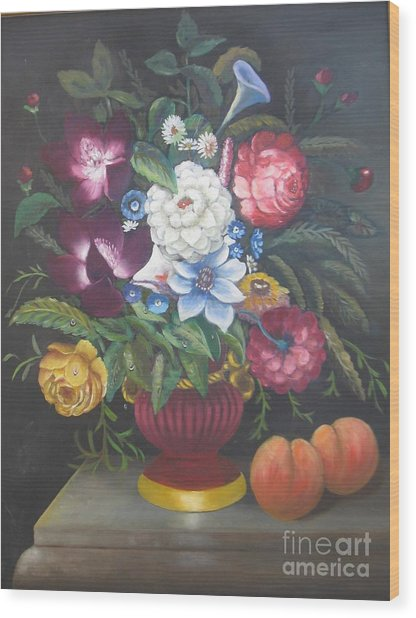 Flowers And Two Peaches Wood Print
