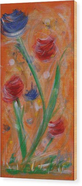 Flowers At Sunset 1 Wood Print