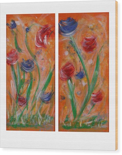 Flowers At Sunset  Wood Print