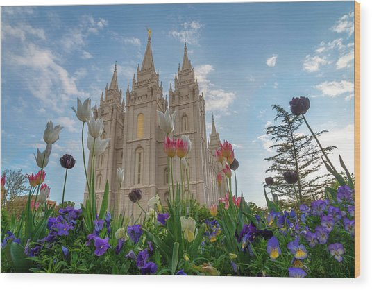 Flowers At Temple Square Wood Print