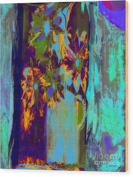 Flowers Beneath A Bleeding Sun Wood Print