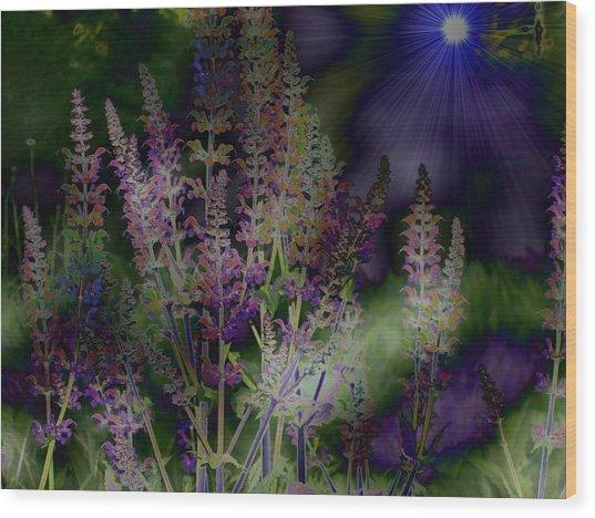 Flowers By Moonlight Wood Print