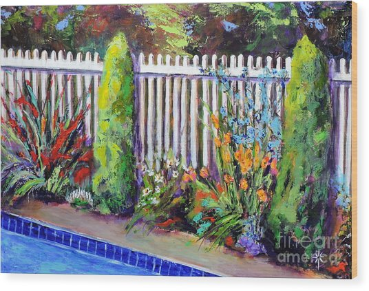 Flowers By The Pool Wood Print