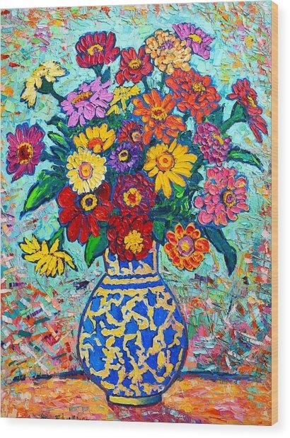 Flowers - Colorful Zinnias Bouquet Wood Print