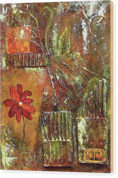Flowers Grow Anywhere Wood Print
