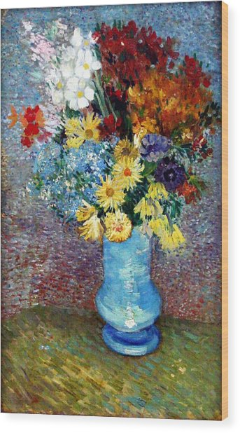 Wood Print featuring the painting Flowers In A Blue Vase  by Van Gogh