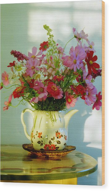 Flowers In A Teapot Wood Print