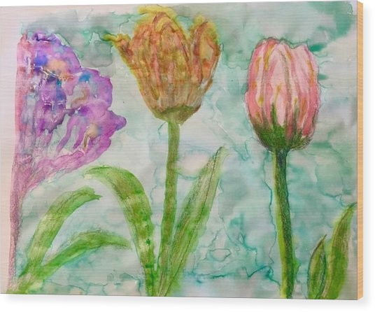 Tulips A'bloom Wood Print
