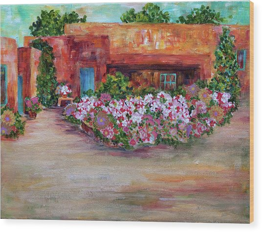 Flowers In Front Of Adobe Wood Print