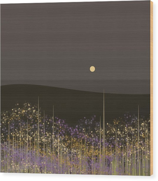 Flowers In The Moonlight Wood Print