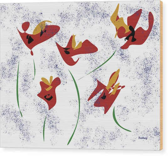 Flowers In The Wind Wood Print