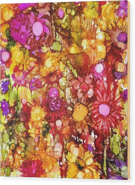 Flowers In Yellow And Pink Wood Print