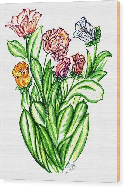 Flowers Of Fantasy Wood Print by Judith Herbert
