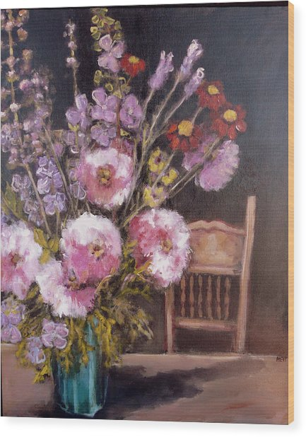 Flowers On The Kitchen Table Wood Print by Juliet Mevi