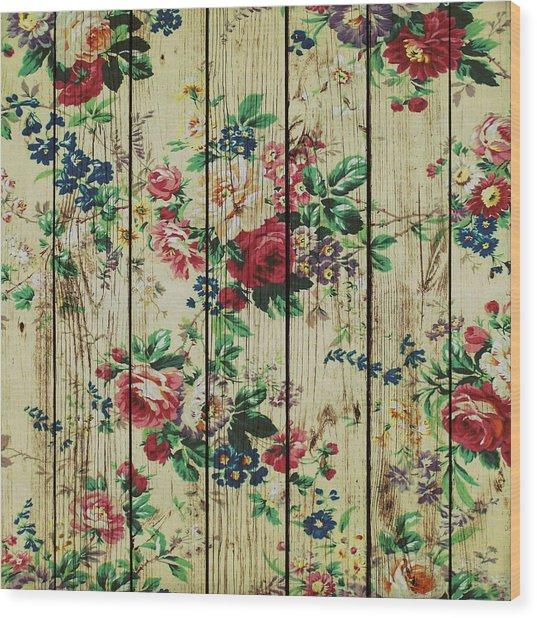 Flowers On Wood 01 Wood Print
