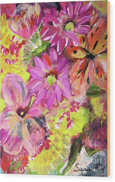 Flowers Painting Wood Print by Oksana Semenchenko