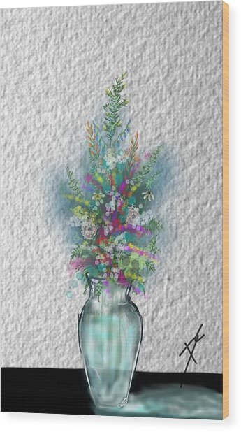 Wood Print featuring the digital art Flowers Study Two by Darren Cannell