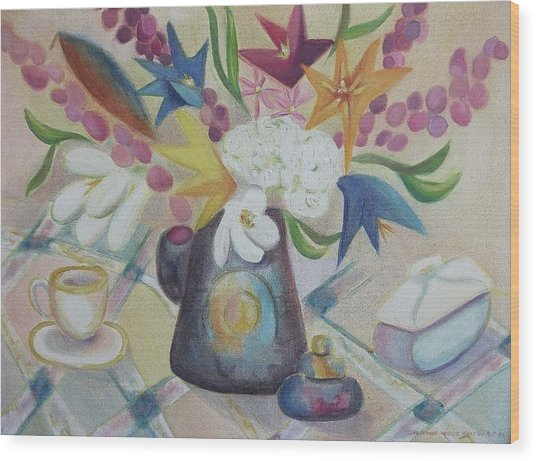 flowers Tin Vase and Tea Cup  Wood Print by Suzanne  Marie Leclair