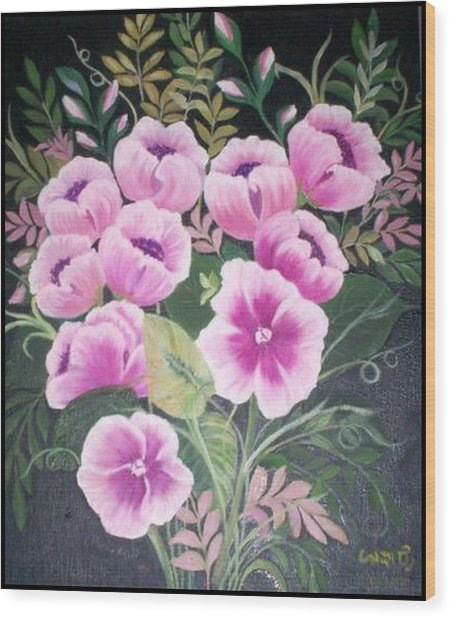 Flowers Wood Print by Usha Rai