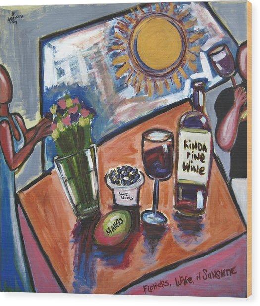 Flowers Wine N Sunshine Wood Print by Albert Almondia