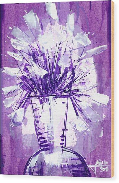 Flowery Purple II Wood Print by Jose Julio Perez
