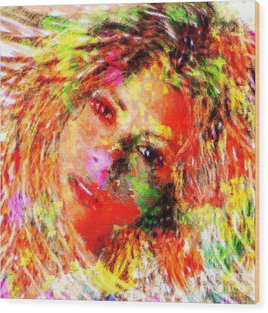 Flowery Shakira Wood Print