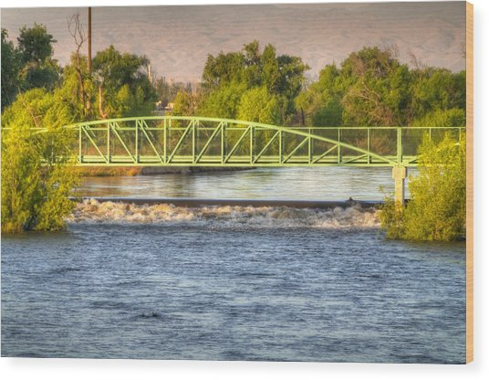 Flowing Kern River Walk And Bridge Wood Print